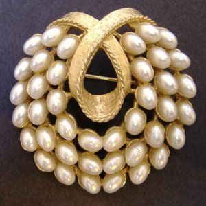 Vintage White Faux Pearl Pin Brooch Signed ART